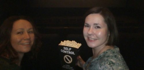 in the movie theater, cinema, me and my sister
